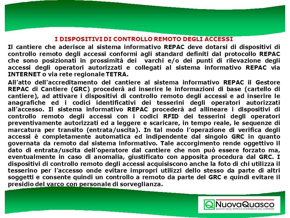 I DISPOSITIVI DI CONTROLLO REMOTO DEGLI ACCESSI Il cantiere che aderisce al sistema informativo REPAC deve dotarsi di dispositivi di controllo remoto