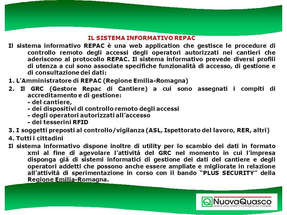 IL SISTEMA INFORMATIVO REPAC Il sistema informativo REPAC è una web application che gestisce le procedure di controllo remoto degli accessi degli oper