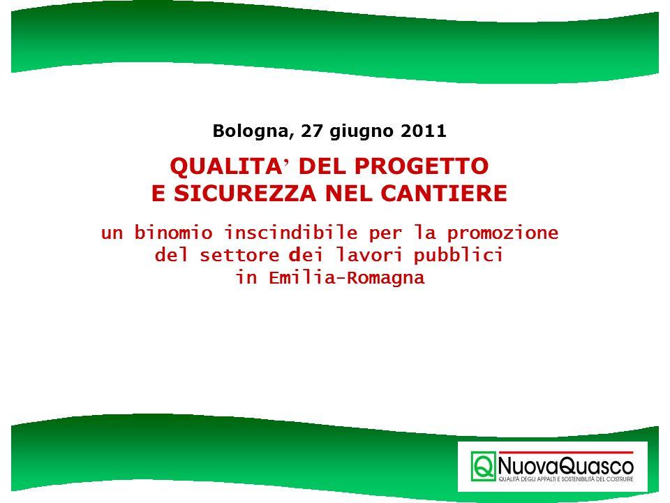 Bologna, 27 giugno 2011 QUALITA DEL PROGETTO E SICUREZZA NEL CANTIERE un binomio inscindibile per la promozione del settore d ei lavori pubblici in Em