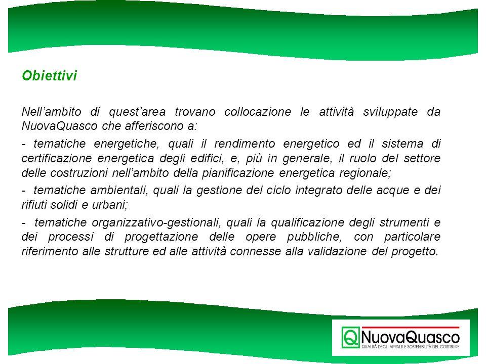 Obiettivi Nellambito di questarea trovano collocazione le attività sviluppate da NuovaQuasco che afferiscono a: - tematiche energetiche, quali il rend