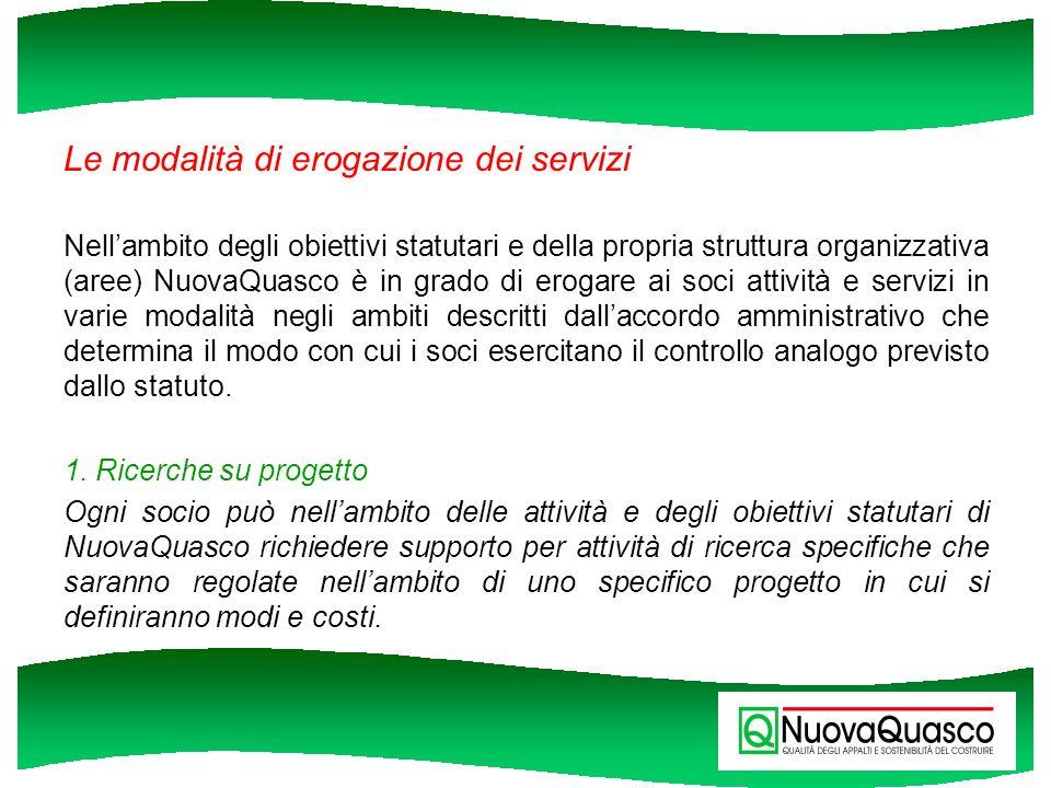 Le modalità di erogazione dei servizi Nellambito degli obiettivi statutari e della propria struttura organizzativa (aree) NuovaQuasco è in grado di er