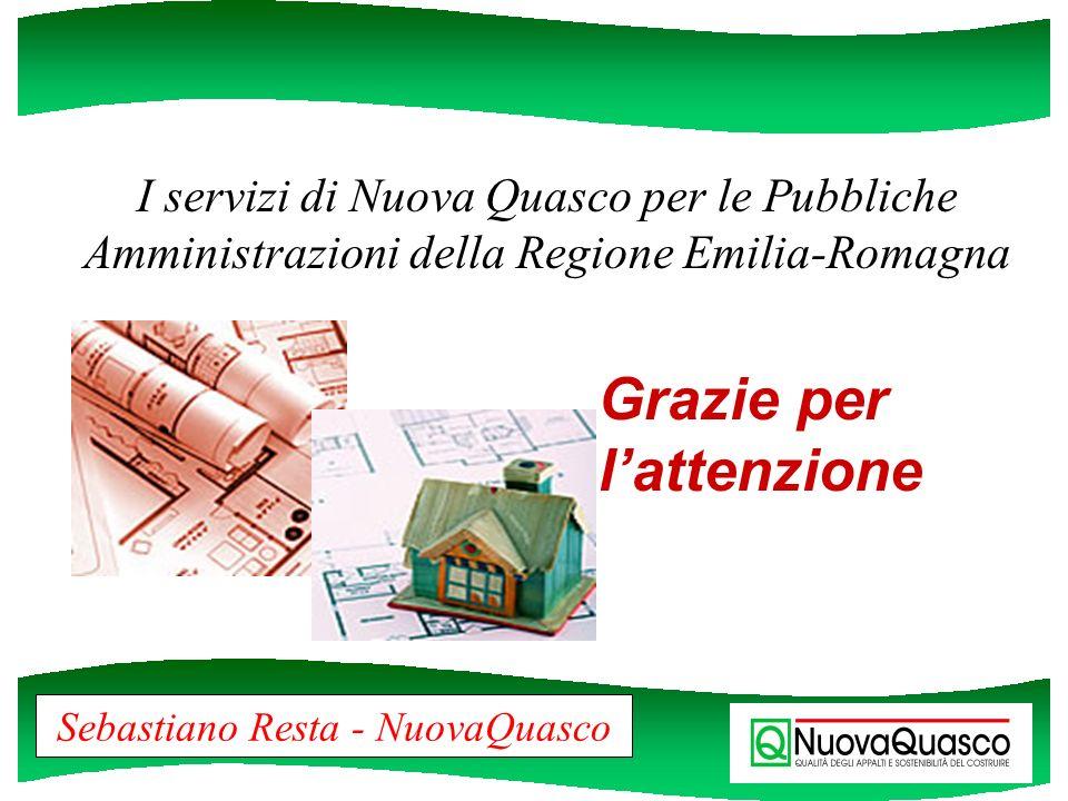 I servizi di Nuova Quasco per le Pubbliche Amministrazioni della Regione Emilia-Romagna Sebastiano Resta - NuovaQuasco Grazie per lattenzione