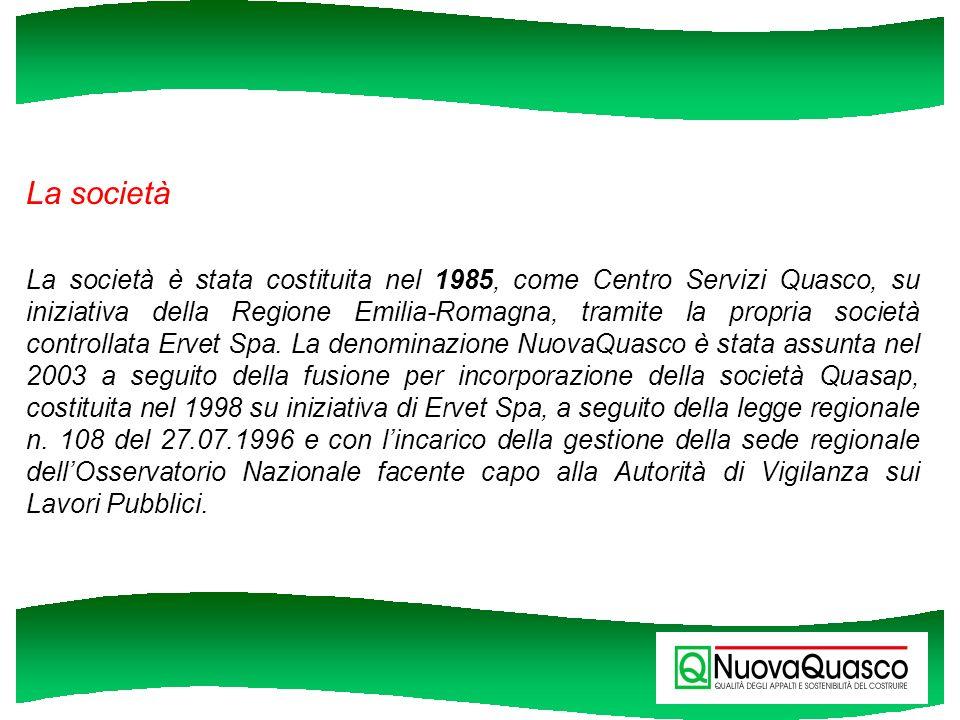 La società La società è stata costituita nel 1985, come Centro Servizi Quasco, su iniziativa della Regione Emilia-Romagna, tramite la propria società