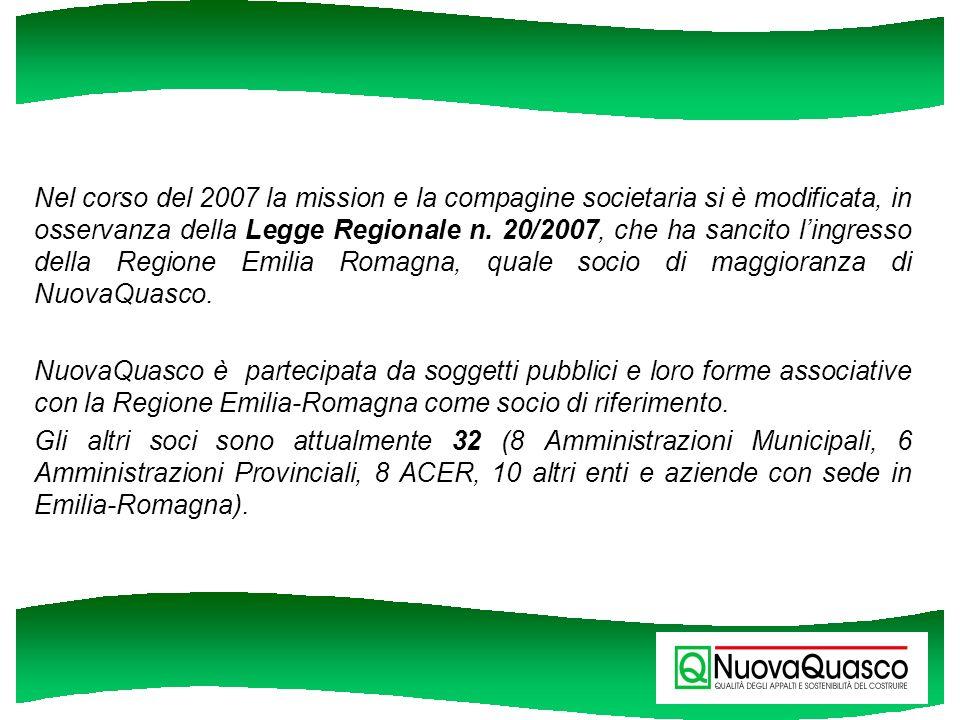 Nel corso del 2007 la mission e la compagine societaria si è modificata, in osservanza della Legge Regionale n. 20/2007, che ha sancito lingresso dell