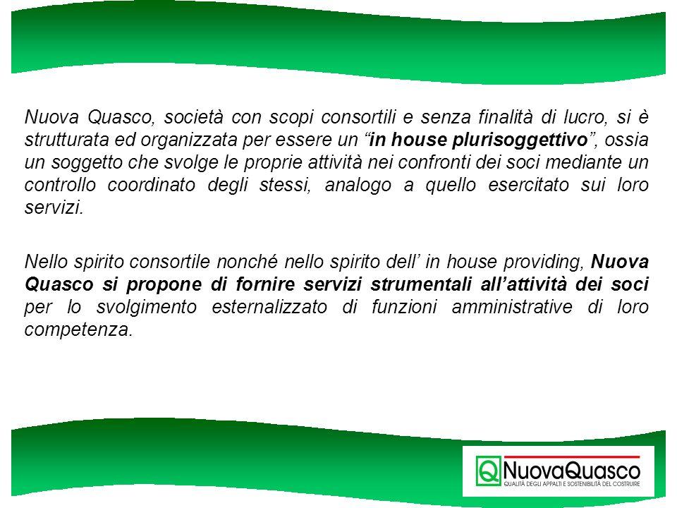 Nuova Quasco, società con scopi consortili e senza finalità di lucro, si è strutturata ed organizzata per essere un in house plurisoggettivo, ossia un