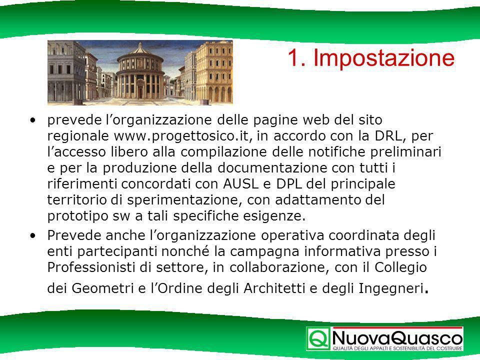 1. Impostazione prevede lorganizzazione delle pagine web del sito regionale www.progettosico.it, in accordo con la DRL, per laccesso libero alla compi