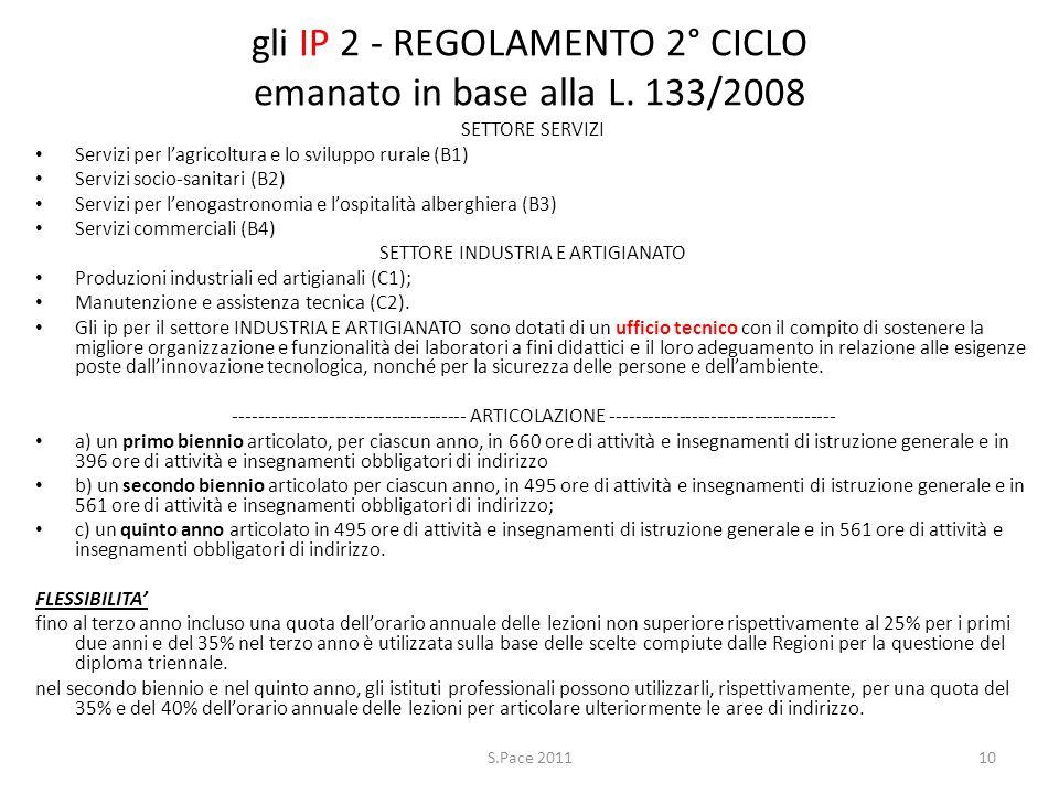 gli IP 2 - REGOLAMENTO 2° CICLO emanato in base alla L. 133/2008 SETTORE SERVIZI Servizi per lagricoltura e lo sviluppo rurale (B1) Servizi socio-sani