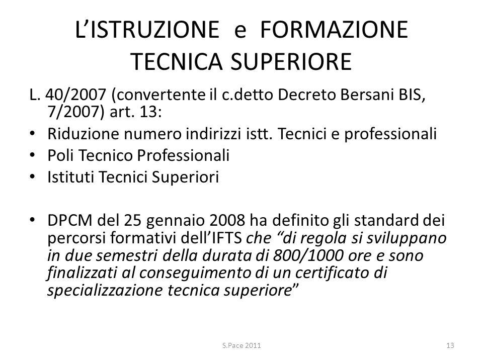 LISTRUZIONE e FORMAZIONE TECNICA SUPERIORE L. 40/2007 (convertente il c.detto Decreto Bersani BIS, 7/2007) art. 13: Riduzione numero indirizzi istt. T