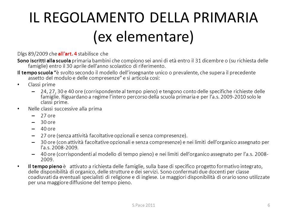 IL REGOLAMENTO DELLA PRIMARIA (ex elementare) Dlgs 89/2009 che allart. 4 stabilisce che Sono iscritti alla scuola primaria bambini che compiono sei an