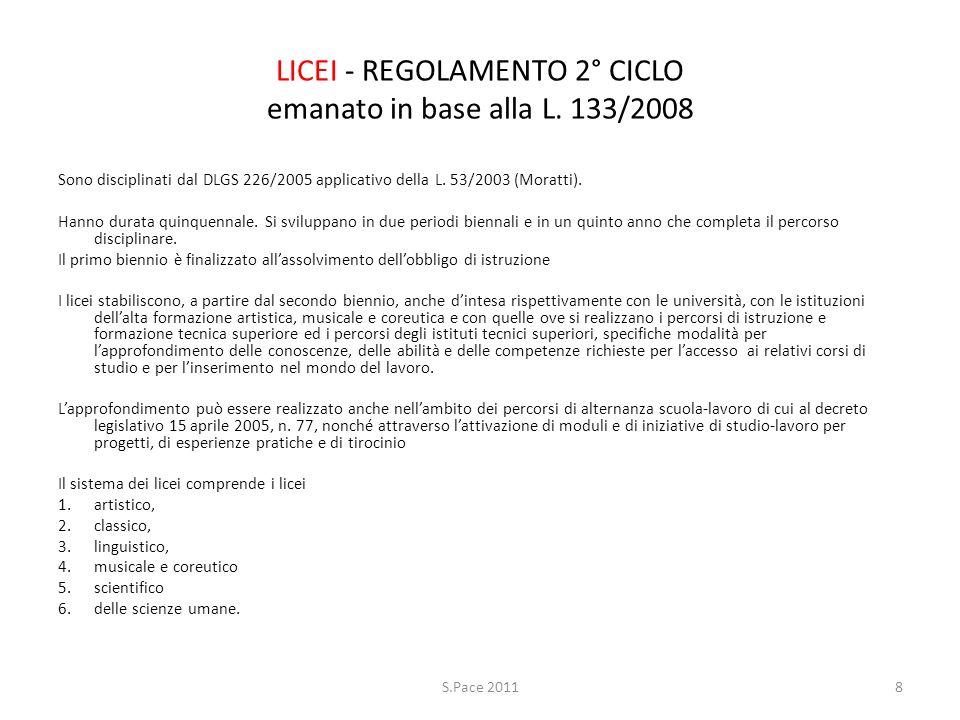 LICEI - REGOLAMENTO 2° CICLO emanato in base alla L. 133/2008 Sono disciplinati dal DLGS 226/2005 applicativo della L. 53/2003 (Moratti). Hanno durata