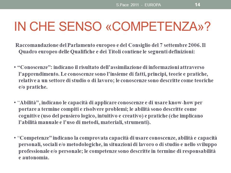 IN CHE SENSO «COMPETENZA»? Raccomandazione del Parlamento europeo e del Consiglio del 7 settembre 2006. Il Quadro europeo delle Qualifiche e dei Titol