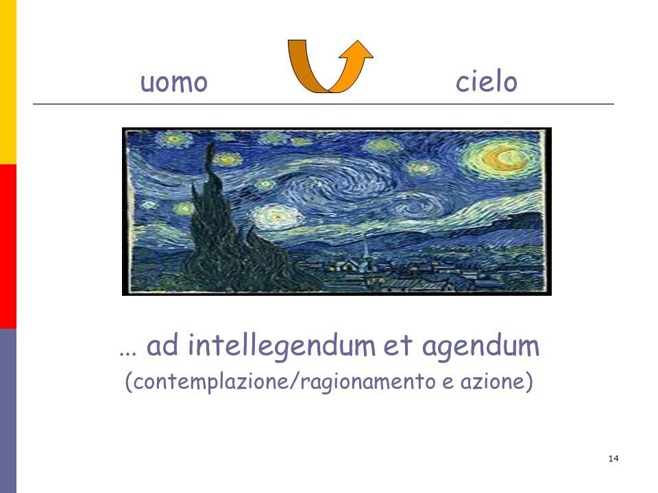 14 uomo cielo … ad intellegendum et agendum (contemplazione/ragionamento e azione)