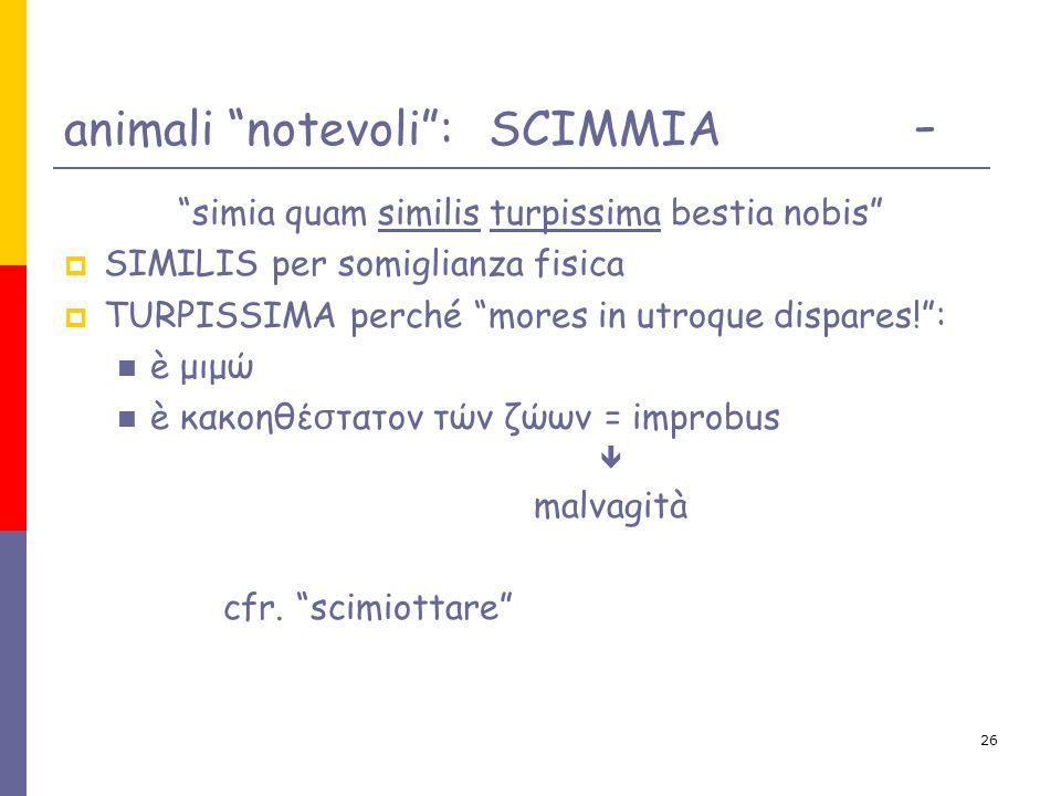 26 animali notevoli: SCIMMIA - simia quam similis turpissima bestia nobis SIMILIS per somiglianza fisica TURPISSIMA perché mores in utroque dispares!: