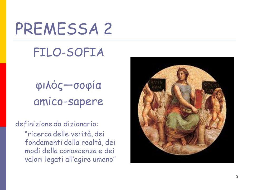 3 PREMESSA 2 FILO-SOFIA φιλ ό ςσοφία amico-sapere definizione da dizionario: ricerca delle verità, dei fondamenti della realtà, dei modi della conosce