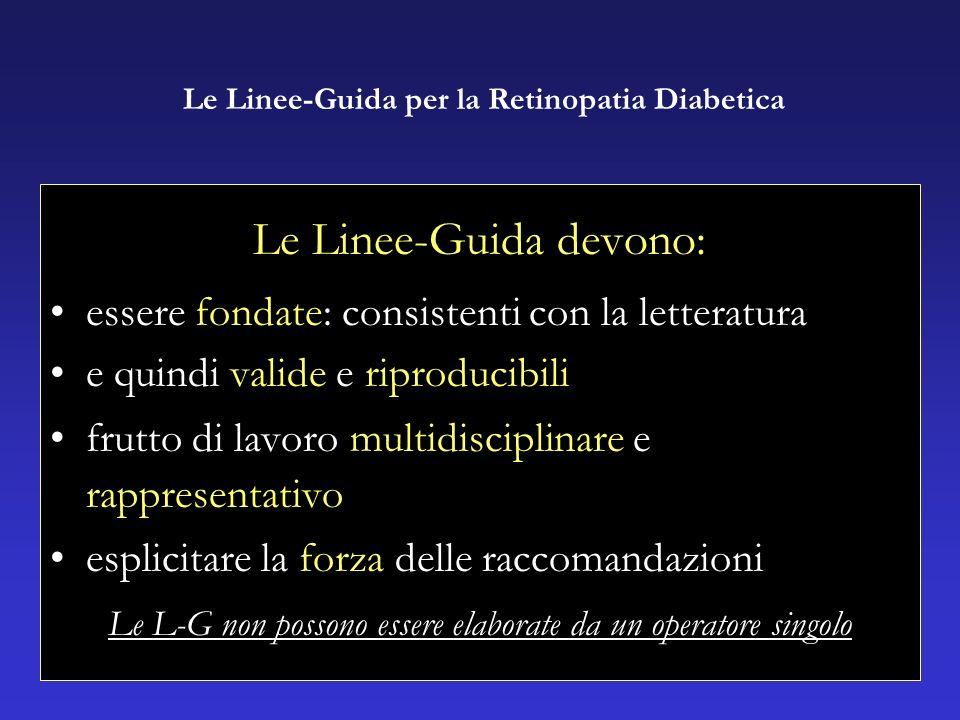Le Linee-Guida devono: essere fondate: consistenti con la letteratura e quindi valide e riproducibili frutto di lavoro multidisciplinare e rappresentativo esplicitare la forza delle raccomandazioni Le L-G non possono essere elaborate da un operatore singolo Le Linee-Guida per la Retinopatia Diabetica