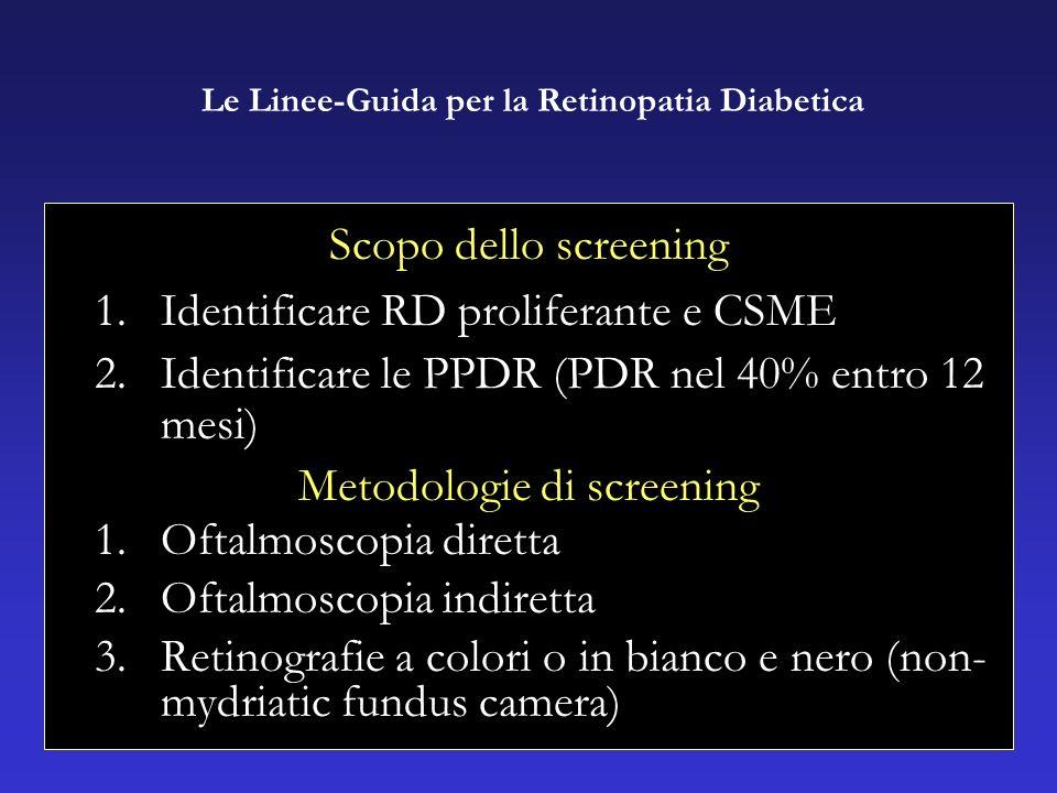 Scopo dello screening 1.Identificare RD proliferante e CSME 2.Identificare le PPDR (PDR nel 40% entro 12 mesi) Metodologie di screening 1.Oftalmoscopia diretta 2.Oftalmoscopia indiretta 3.Retinografie a colori o in bianco e nero (non- mydriatic fundus camera) Le Linee-Guida per la Retinopatia Diabetica