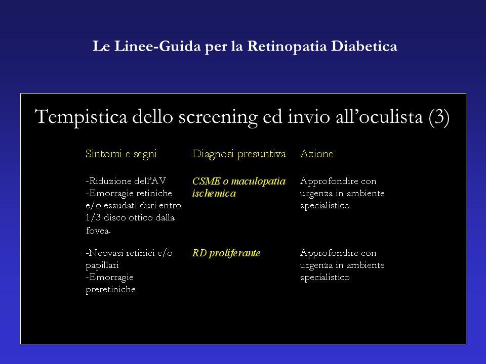 Tempistica dello screening ed invio alloculista (3) Le Linee-Guida per la Retinopatia Diabetica