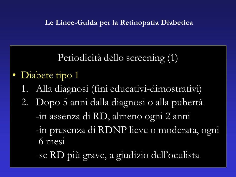 Periodicità dello screening (1) Diabete tipo 1 1.Alla diagnosi (fini educativi-dimostrativi) 2.Dopo 5 anni dalla diagnosi o alla pubertà -in assenza di RD, almeno ogni 2 anni -in presenza di RDNP lieve o moderata, ogni 6 mesi -se RD più grave, a giudizio delloculista Le Linee-Guida per la Retinopatia Diabetica