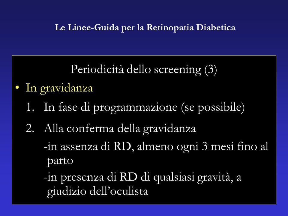 Periodicità dello screening (3) In gravidanza 1.In fase di programmazione (se possibile) 2.Alla conferma della gravidanza -in assenza di RD, almeno ogni 3 mesi fino al parto -in presenza di RD di qualsiasi gravità, a giudizio delloculista Le Linee-Guida per la Retinopatia Diabetica