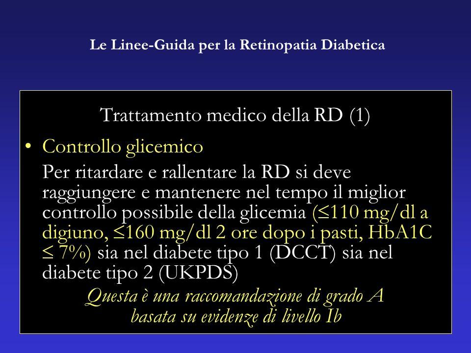 Trattamento medico della RD (1) Controllo glicemico Per ritardare e rallentare la RD si deve raggiungere e mantenere nel tempo il miglior controllo possibile della glicemia ( 110 mg/dl a digiuno, 160 mg/dl 2 ore dopo i pasti, HbA1C 7%) sia nel diabete tipo 1 (DCCT) sia nel diabete tipo 2 (UKPDS) Questa è una raccomandazione di grado A basata su evidenze di livello Ib Le Linee-Guida per la Retinopatia Diabetica