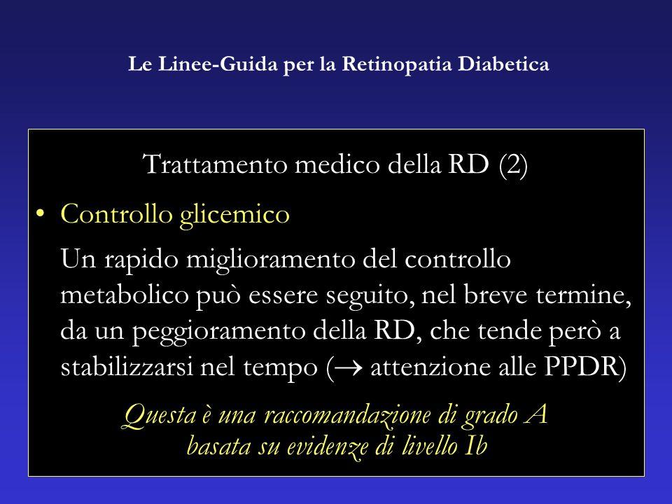 Trattamento medico della RD (2) Controllo glicemico Un rapido miglioramento del controllo metabolico può essere seguito, nel breve termine, da un peggioramento della RD, che tende però a stabilizzarsi nel tempo ( attenzione alle PPDR) Questa è una raccomandazione di grado A basata su evidenze di livello Ib Le Linee-Guida per la Retinopatia Diabetica