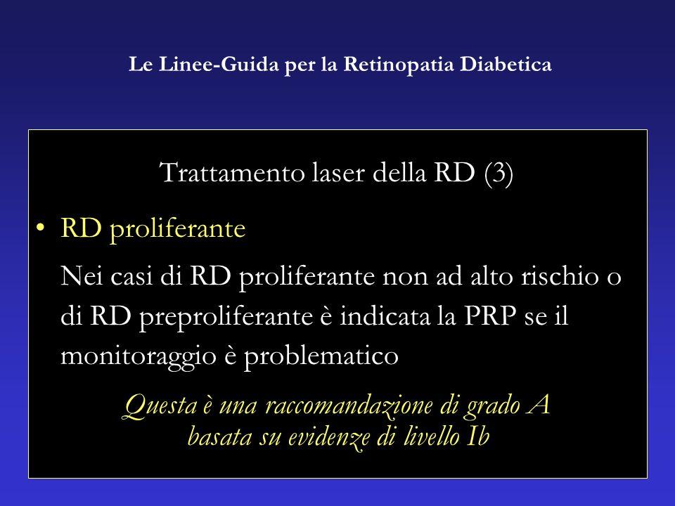 Trattamento laser della RD (3) RD proliferante Nei casi di RD proliferante non ad alto rischio o di RD preproliferante è indicata la PRP se il monitoraggio è problematico Questa è una raccomandazione di grado A basata su evidenze di livello Ib Le Linee-Guida per la Retinopatia Diabetica