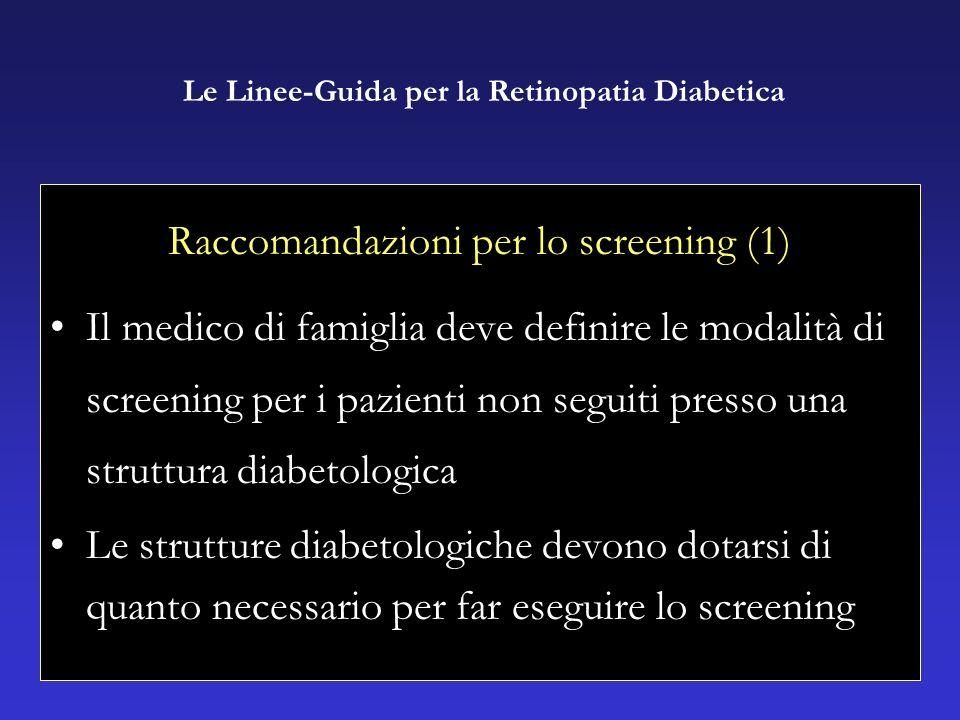 Raccomandazioni per lo screening (1) Il medico di famiglia deve definire le modalità di screening per i pazienti non seguiti presso una struttura diabetologica Le strutture diabetologiche devono dotarsi di quanto necessario per far eseguire lo screening Le Linee-Guida per la Retinopatia Diabetica