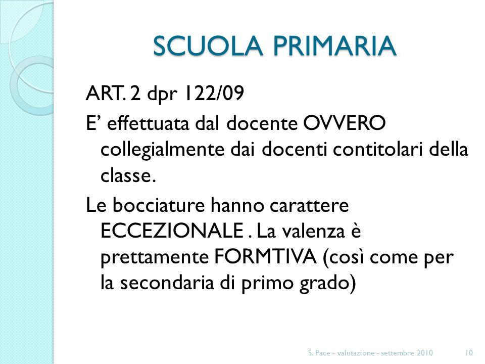 SCUOLA PRIMARIA ART. 2 dpr 122/09 E effettuata dal docente OVVERO collegialmente dai docenti contitolari della classe. Le bocciature hanno carattere E