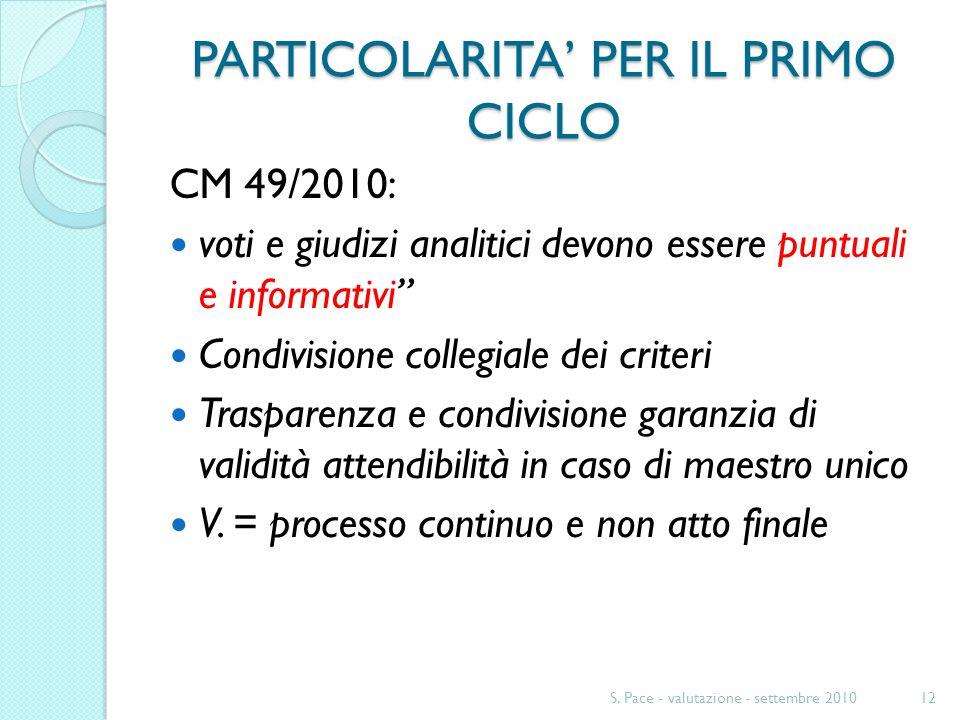 PARTICOLARITA PER IL PRIMO CICLO CM 49/2010: voti e giudizi analitici devono essere puntuali e informativi Condivisione collegiale dei criteri Trasparenza e condivisione garanzia di validità attendibilità in caso di maestro unico V.