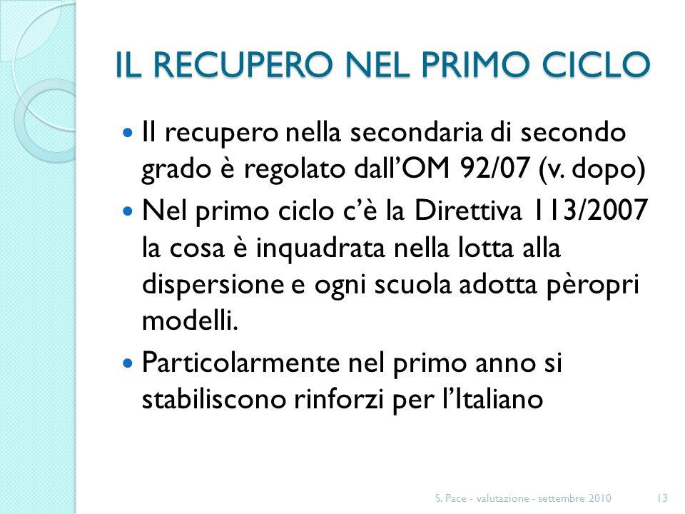 IL RECUPERO NEL PRIMO CICLO Il recupero nella secondaria di secondo grado è regolato dallOM 92/07 (v. dopo) Nel primo ciclo cè la Direttiva 113/2007 l