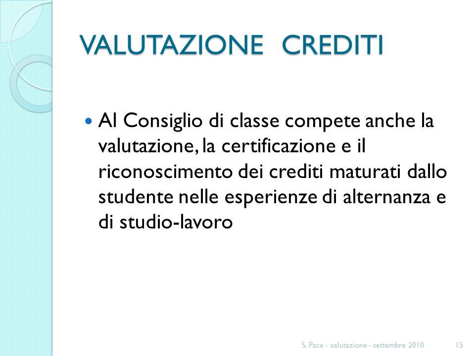 VALUTAZIONE CREDITI Al Consiglio di classe compete anche la valutazione, la certificazione e il riconoscimento dei crediti maturati dallo studente nelle esperienze di alternanza e di studio-lavoro S.