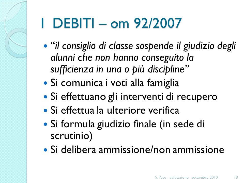 I DEBITI – om 92/2007 il consiglio di classe sospende il giudizio degli alunni che non hanno conseguito la sufficienza in una o più discipline Si comu