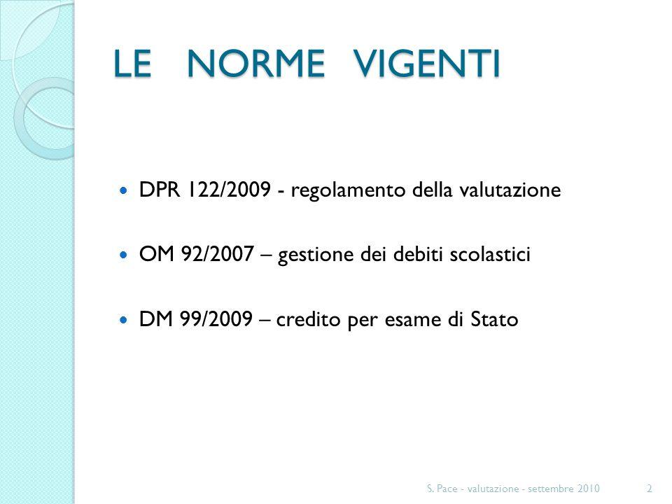LE NORME VIGENTI DPR 122/2009 - regolamento della valutazione OM 92/2007 – gestione dei debiti scolastici DM 99/2009 – credito per esame di Stato 2S.