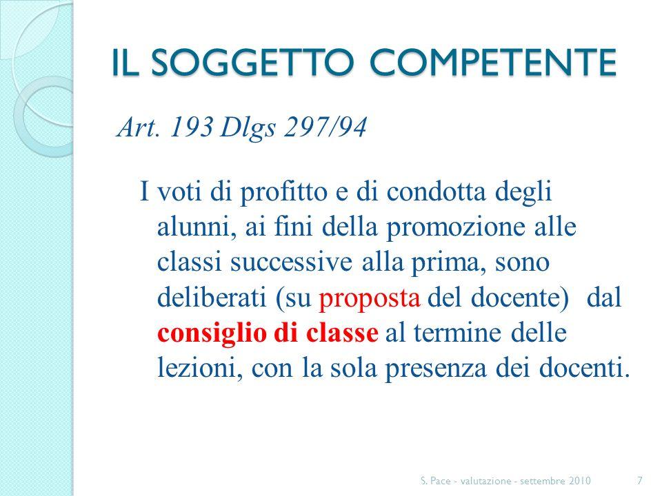IL SOGGETTO COMPETENTE Art. 193 Dlgs 297/94 I voti di profitto e di condotta degli alunni, ai fini della promozione alle classi successive alla prima,