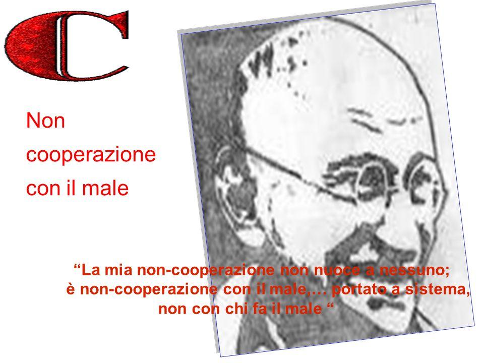 La mia non-cooperazione non nuoce a nessuno; è non-cooperazione con il male,… portato a sistema, non con chi fa il male Non cooperazione con il male