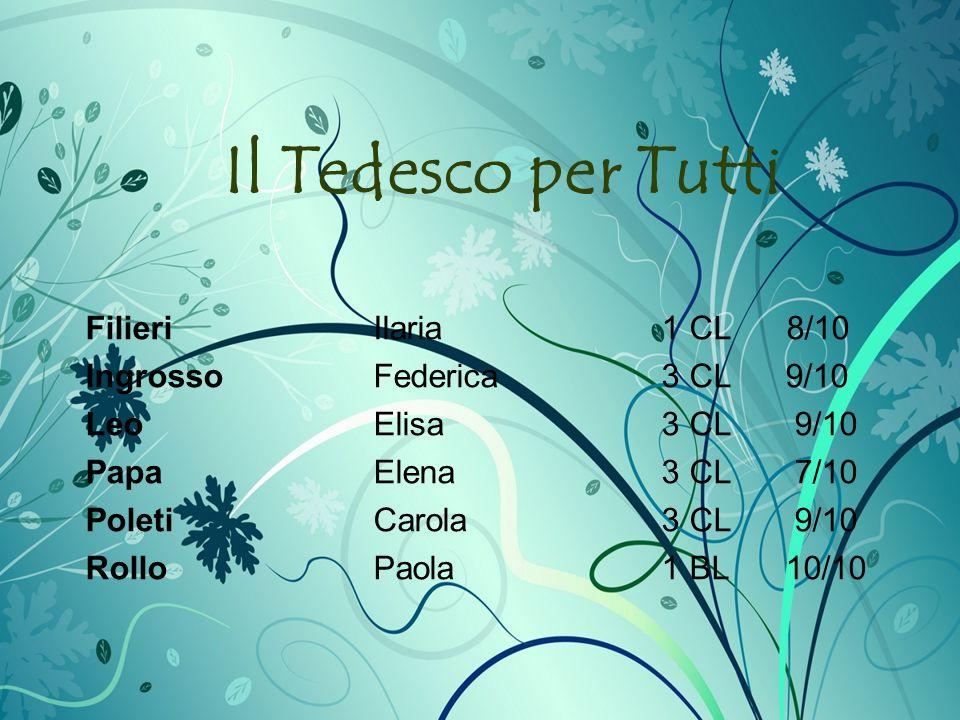 Il Tedesco per Tutti Filieri Ilaria1 CL 8/10 IngrossoFederica3 CL 9/10 LeoElisa3 CL 9/10 Papa Elena3 CL 7/10 Poleti Carola3 CL 9/10 RolloPaola1 BL 10/10