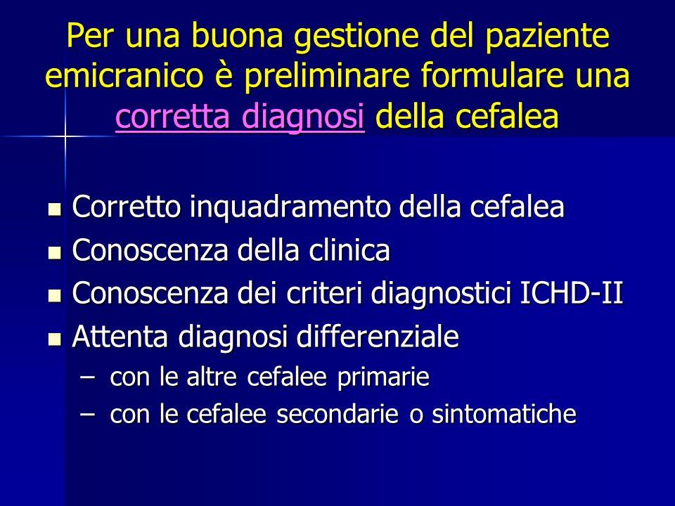 Per una buona gestione del paziente emicranico è preliminare formulare una corretta diagnosi della cefalea Corretto inquadramento della cefalea Corret