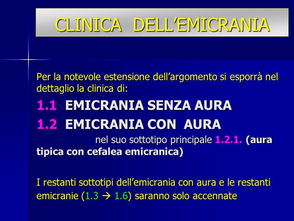 CLINICA DELLEMICRANIA Per la notevole estensione dellargomento si esporrà nel dettaglio la clinica di: 1.1 EMICRANIA SENZA AURA 1.2 EMICRANIA CON AURA