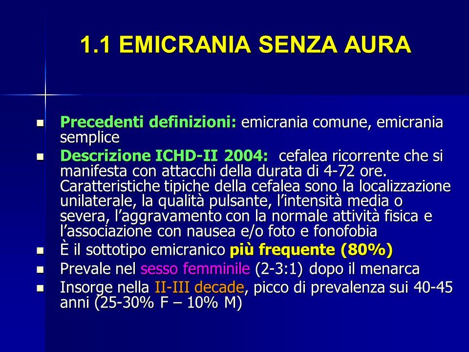 1.1 EMICRANIA SENZA AURA 1.1 EMICRANIA SENZA AURA Precedenti definizioni: emicrania comune, emicrania semplice Precedenti definizioni: emicrania comun