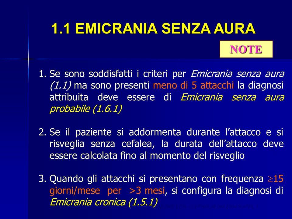NOTE ICHD 2ND EDS – CEPHALALGIA 2004 SUPPL 1 1.Se sono soddisfatti i criteri per Emicrania senza aura (1.1) ma sono presenti meno di 5 attacchi la dia