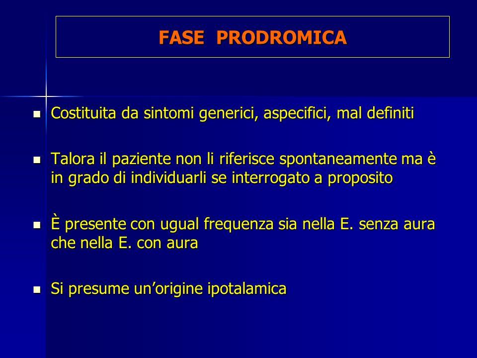FASE PRODROMICA Costituita da sintomi generici, aspecifici, mal definiti Costituita da sintomi generici, aspecifici, mal definiti Talora il paziente n