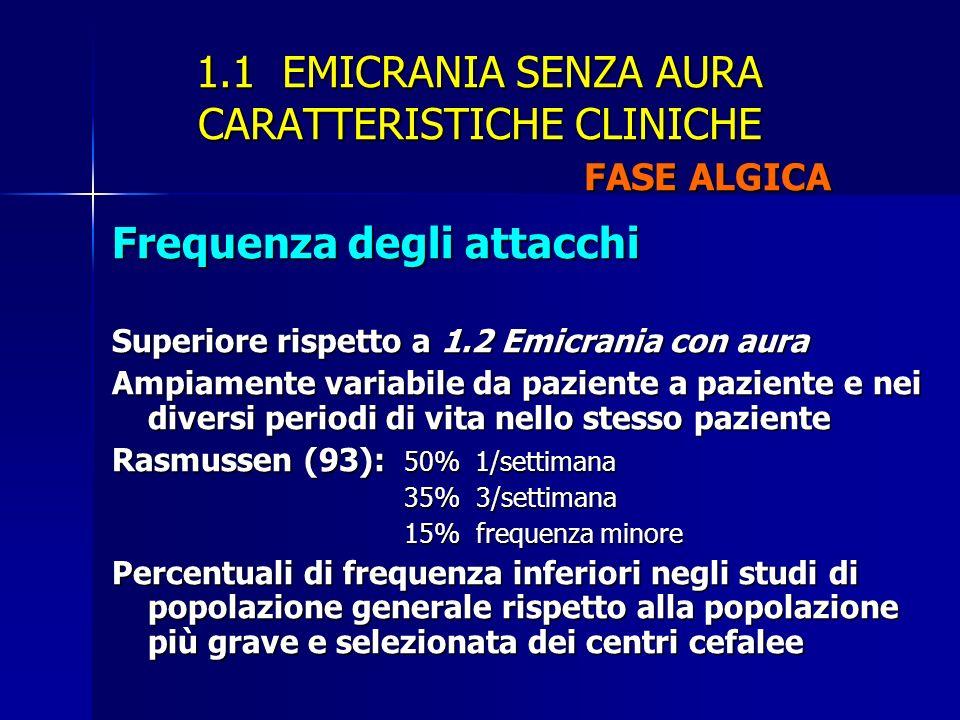 1.1 EMICRANIA SENZA AURA CARATTERISTICHE CLINICHE FASE ALGICA Frequenza degli attacchi Superiore rispetto a 1.2 Emicrania con aura Ampiamente variabil