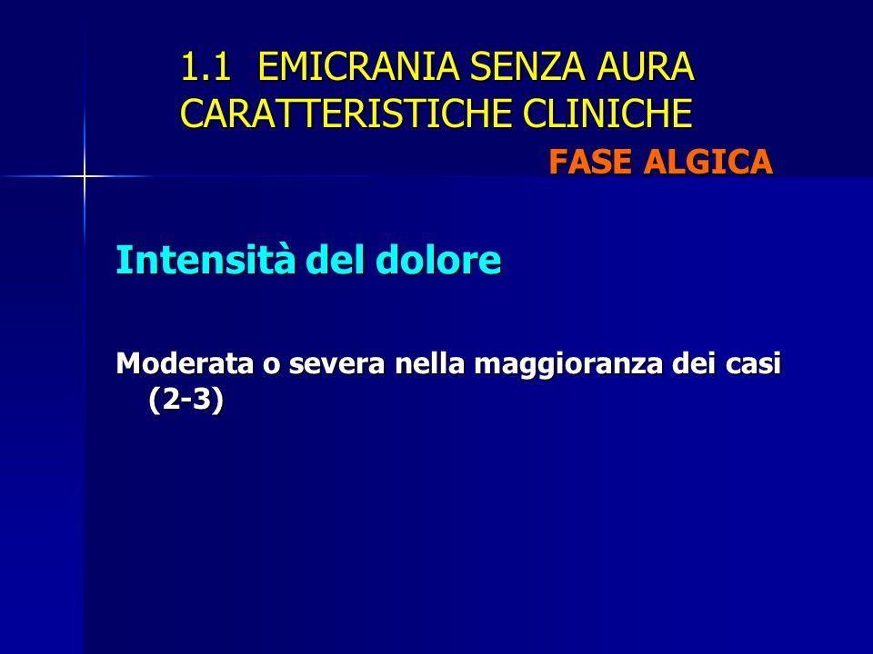 1.1 EMICRANIA SENZA AURA CARATTERISTICHE CLINICHE FASE ALGICA Intensità del dolore Moderata o severa nella maggioranza dei casi (2-3)