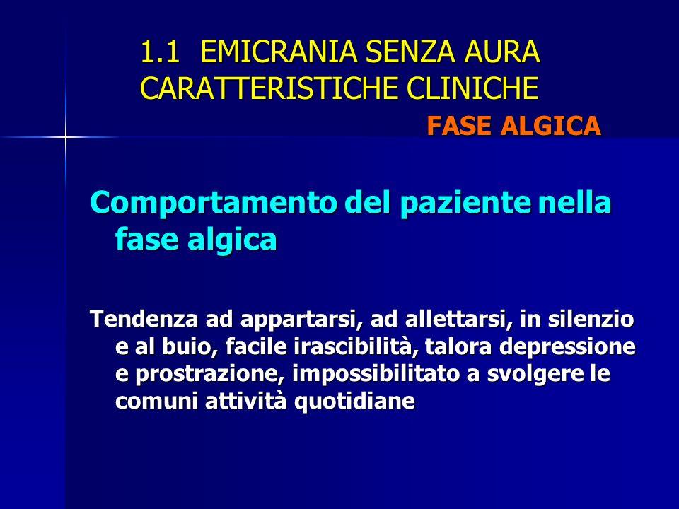 1.1 EMICRANIA SENZA AURA CARATTERISTICHE CLINICHE FASE ALGICA Comportamento del paziente nella fase algica Tendenza ad appartarsi, ad allettarsi, in s
