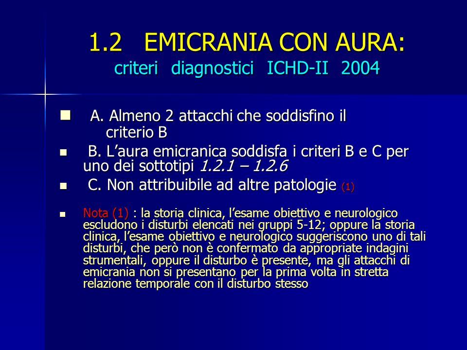 1.2 EMICRANIA CON AURA: criteri diagnostici ICHD-II 2004 A. Almeno 2 attacchi che soddisfino il criterio B A. Almeno 2 attacchi che soddisfino il crit