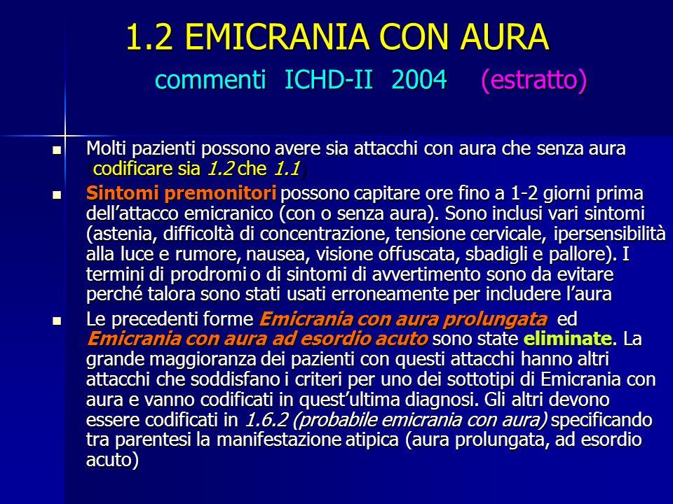 1.2 EMICRANIA CON AURA commenti ICHD-II 2004 (estratto) Molti pazienti possono avere sia attacchi con aura che senza aura (codificare sia 1.2 che 1.1)