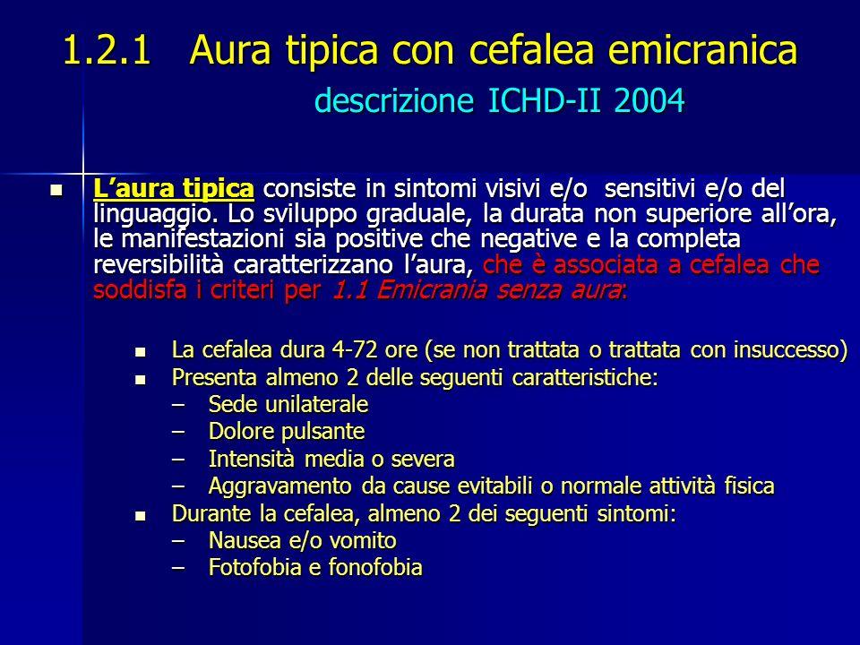 1.2.1 Aura tipica con cefalea emicranica descrizione ICHD-II 2004 Laura tipica consiste in sintomi visivi e/o sensitivi e/o del linguaggio. Lo svilupp