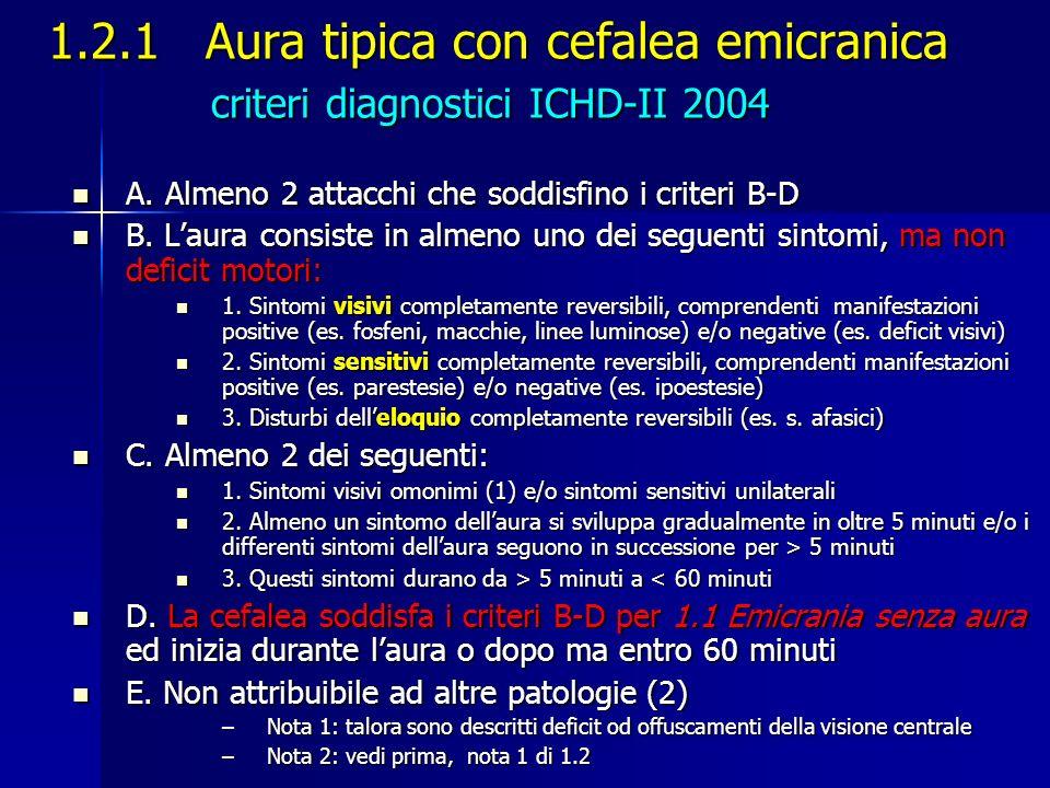 1.2.1 Aura tipica con cefalea emicranica criteri diagnostici ICHD-II 2004 A. Almeno 2 attacchi che soddisfino i criteri B-D A. Almeno 2 attacchi che s