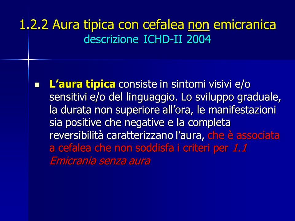 1.2.2 Aura tipica con cefalea non emicranica descrizione ICHD-II 2004 Laura tipica consiste in sintomi visivi e/o sensitivi e/o del linguaggio. Lo svi
