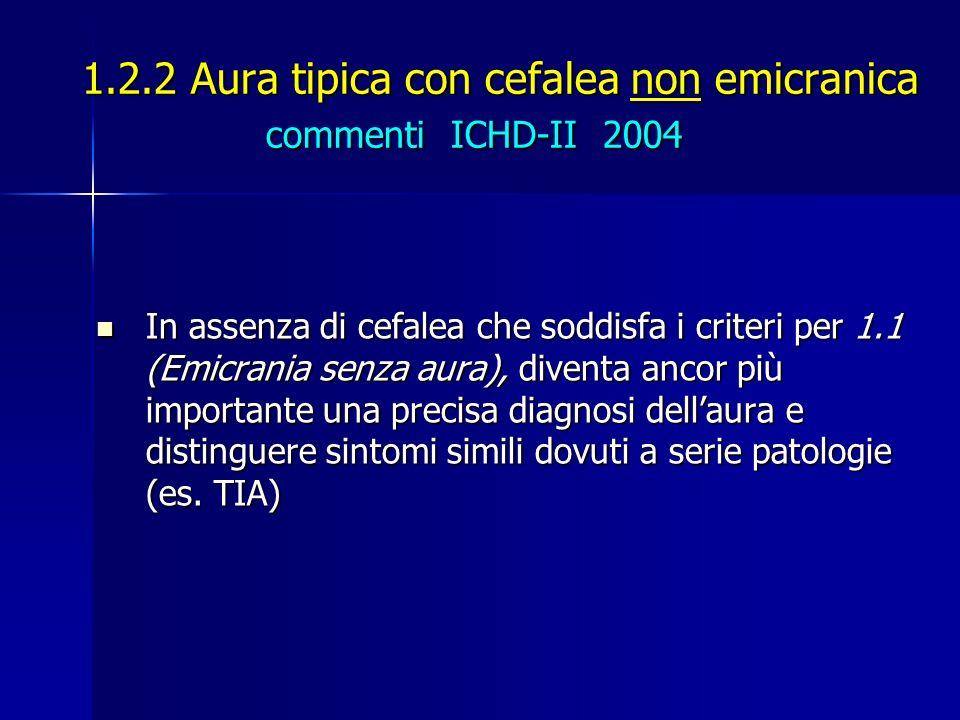 1.2.2 Aura tipica con cefalea non emicranica commenti ICHD-II 2004 In assenza di cefalea che soddisfa i criteri per 1.1 (Emicrania senza aura), divent